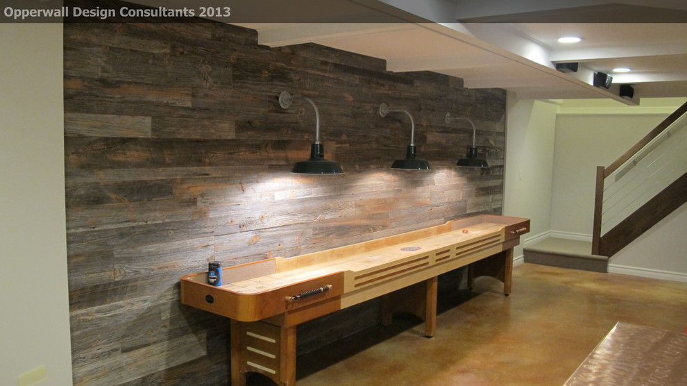 Shuffle Board Table Basement Farmhouse with Barn Light Barnwood Basement Beam Ceiling Man Cave Reclaimed Shuffleboard Stained Concrete