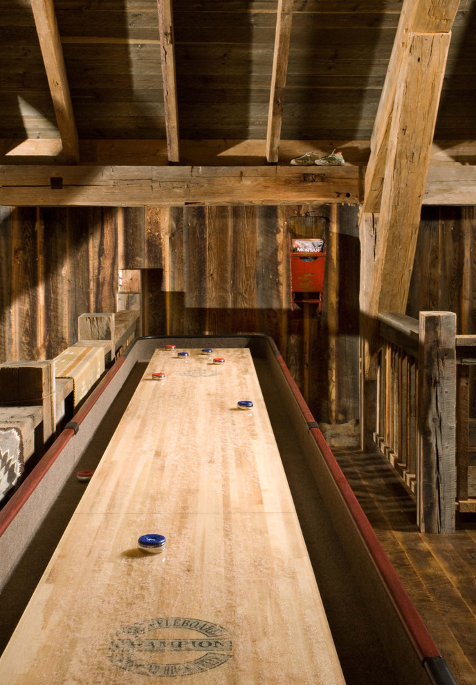 Shuffleboard Table Family Room Rustic with Beams Cabin Game Room Loft Rough Hewn Rustic Timber Truss Wood Ceiling