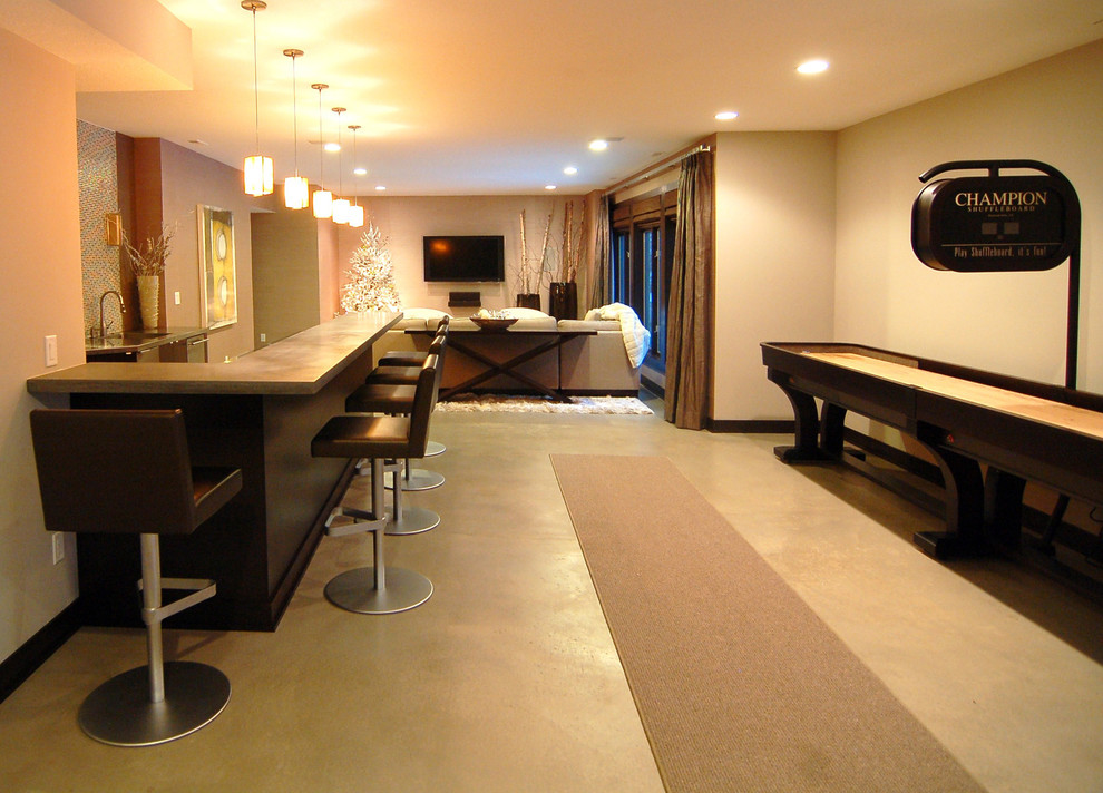 shuffleboard tables Basement Modern with bar basketball court cement concrete curtains light fixtures media room paint Tile