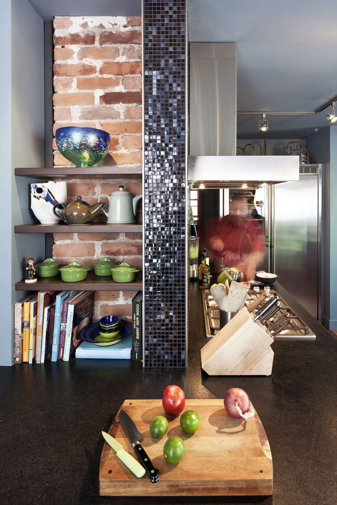 shun chef knife Kitchen Eclectic with blue brick ceramic chopping board cookbooks glass mosaic tile granite countertop gray