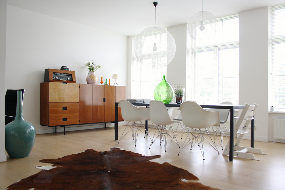 Sideboard Cabinet Dining Room Midcentury with Ball Light Balloon Light Black Dining Table Bright Buffet Cowhide Rug Eames