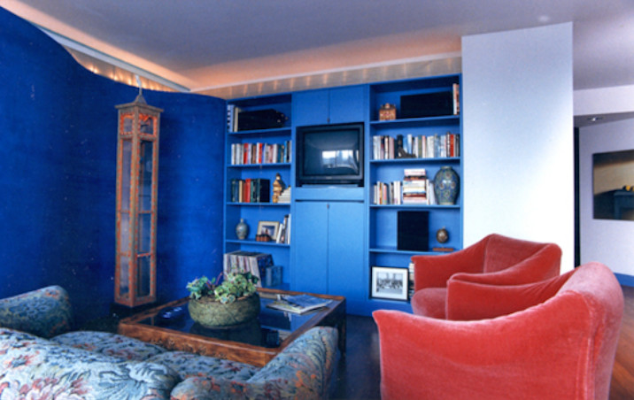Sideboard Cabinet Living Room Contemporary with Blue Bookcase Colored Plaster Curved Wall Entertainment Center Light Cove Venetian Plaster