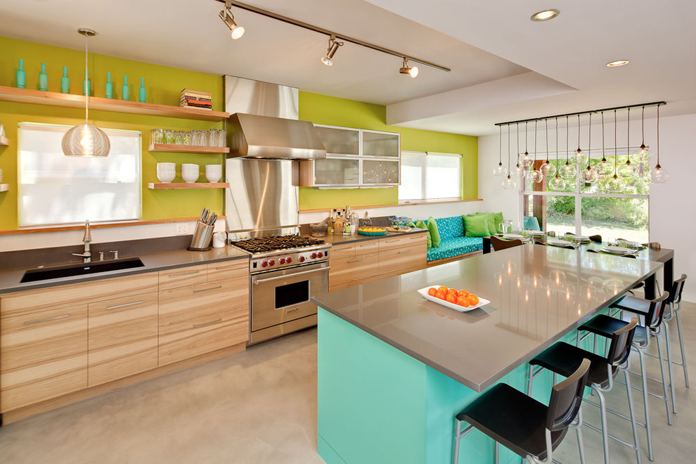 Signature Housewares Kitchen Contemporary with Accent Wall Aqua Kitchen Banquette Blue Bold Color Bold Kitchen Breakfast Bar