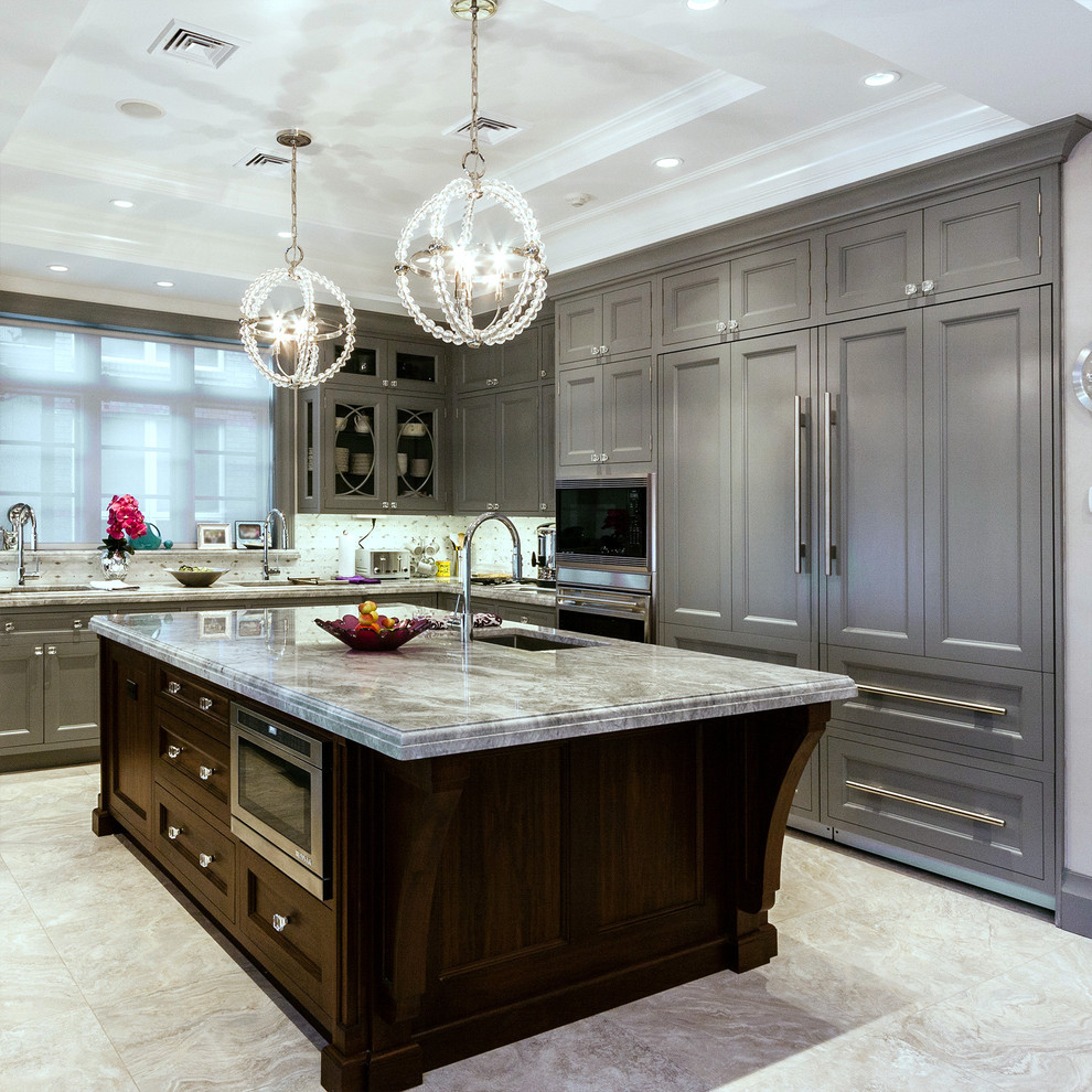 Signature Housewares Kitchen Traditional with Cabinets Calcutta Chandelier Dark Stained Wood Faucet Frame and Panel Gray Hardware