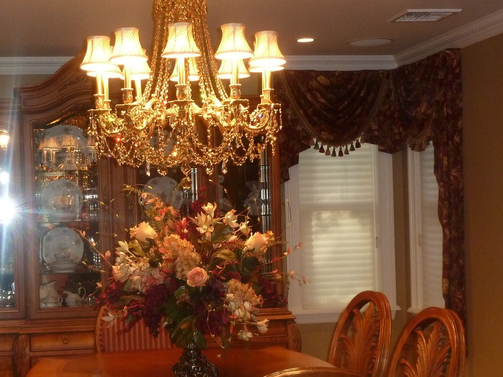 Silk Floral Arrangements Dining Room Traditional with Chandlier Gold Interior Design Mediterraine Red Silk Floral Arrangement Window Treatment