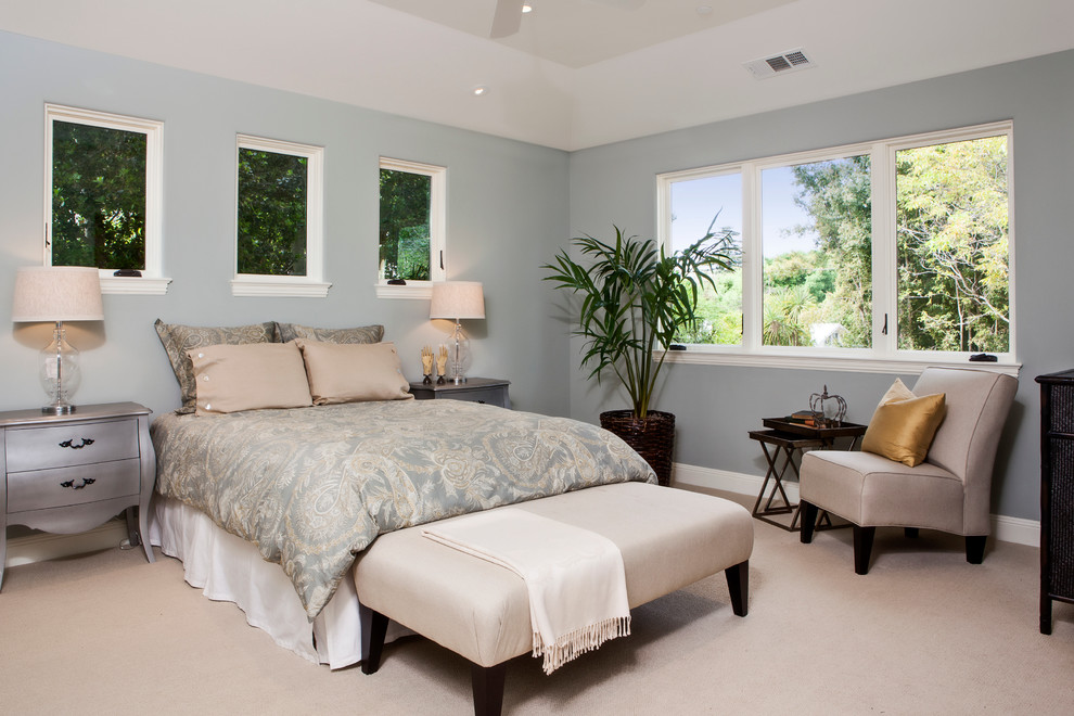 Silver Nightstand Bedroom Contemporary with Carpet Flooring Gold Pillow Indoor Plants Light Blue Walls Long Bench Pitched