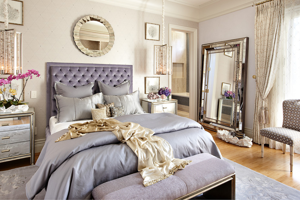 silver nightstand Bedroom Eclectic with crown molding feminine mirror pendant light purple round mirror silver Silver Mirror