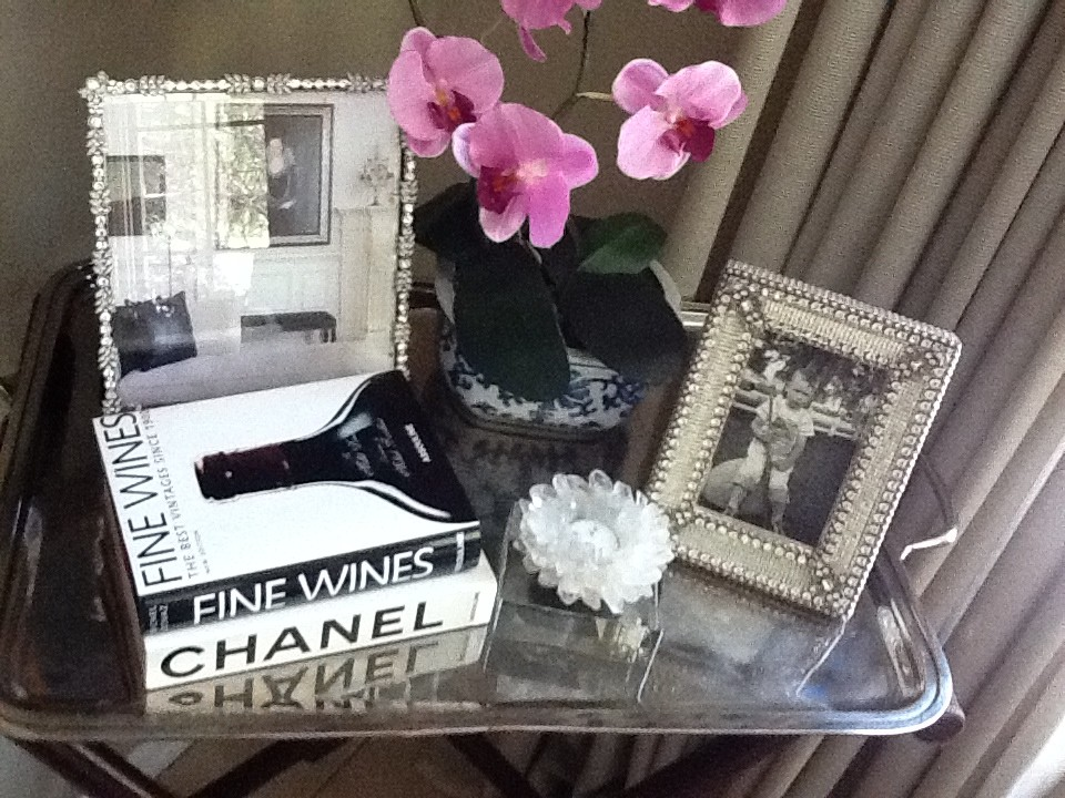silver serving trays Kitchen Eclectic with books colorful orchids Crystal Candle Holder Rhinestone picture frames silver serving tray