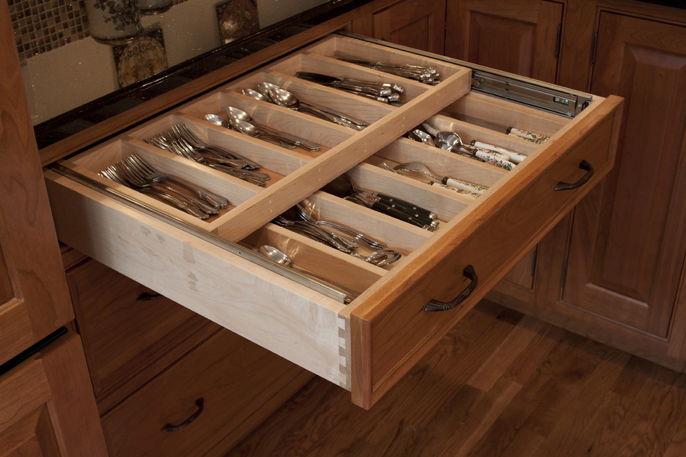 Silverware Tray Kitchen Traditional with Beaded Inset Black Galaxy Cherry Cabinets Cove Edge Double Tier Cutlery Tray