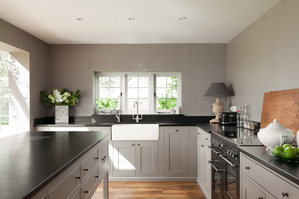 simmons beautyrest Kitchen Farmhouse with black appliance black countertop black worktop black worktops butlers sink casement windows