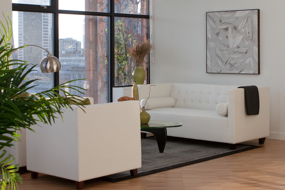 Simmons Sofa Living Room Contemporary with Arco Lamp Art Black Breakfast Bar City View Condo Contemporary Fluff Hardwood