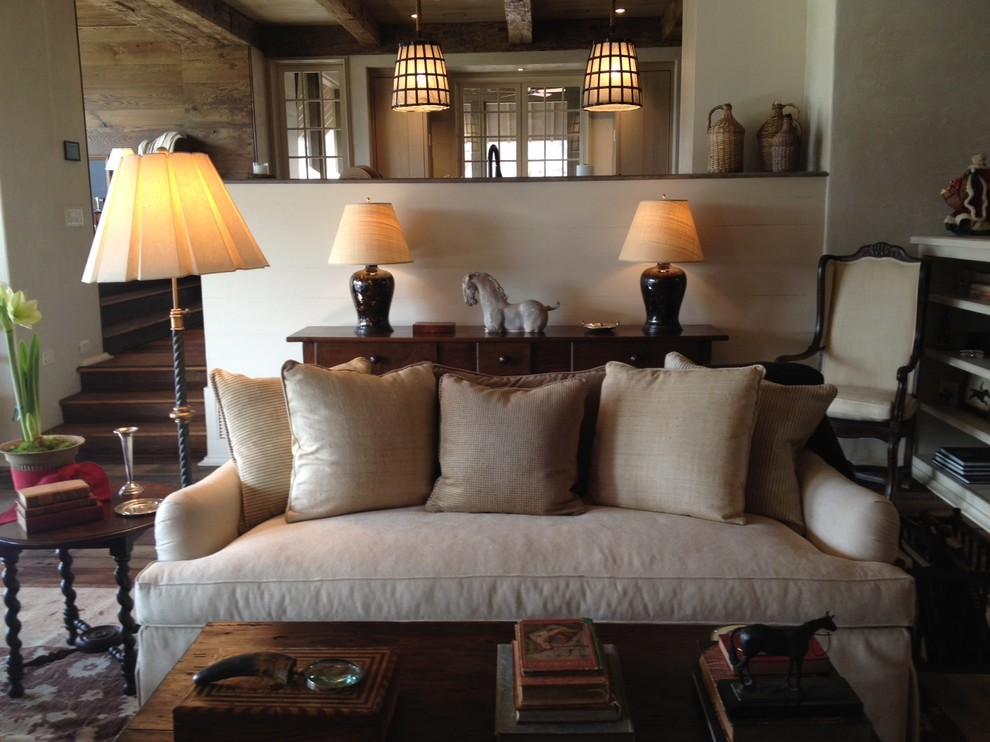 Simmons Sofa Living Room Traditional with Antiques Decorative Pillows English Country Equestrian Floor Lamp Horse Farm Lanterns Neutral
