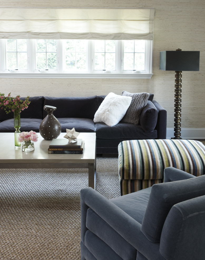 Sisal Rug Living Room Contemporary with Black Sofa Black Table Lamp Blue Armchair Chunky Knit Pillow Grass Cloth