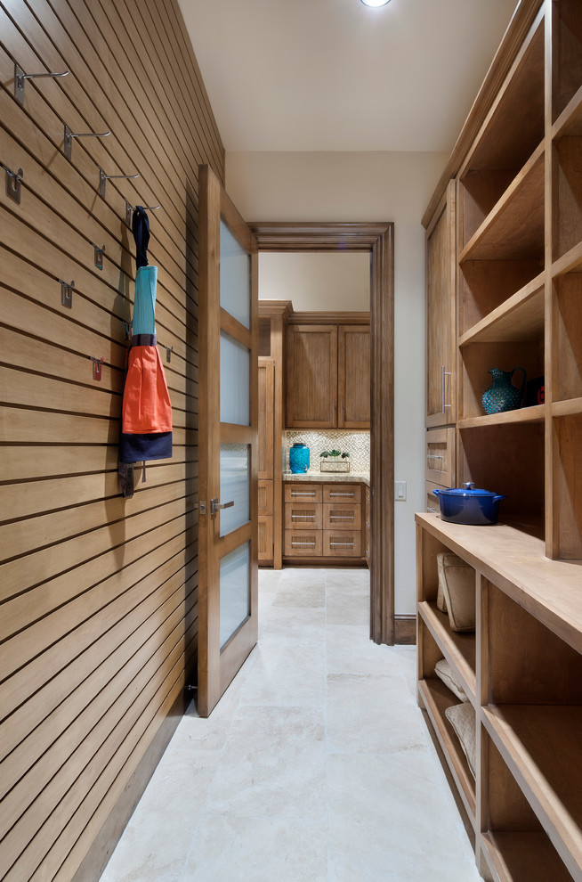 Slatwall Hooks Hall Contemporary with Built in Shelves Coat Hooks Frosted Glass Door Natural Wood Pantry Tile Floor