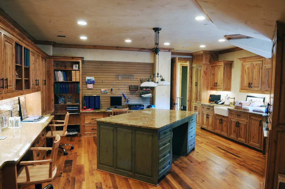 Slatwall Hooks Home Office Traditional with Beige Countertop Built in Bookcase Built in Bookshelf Green Kitchen Island Pendant Light Recessed