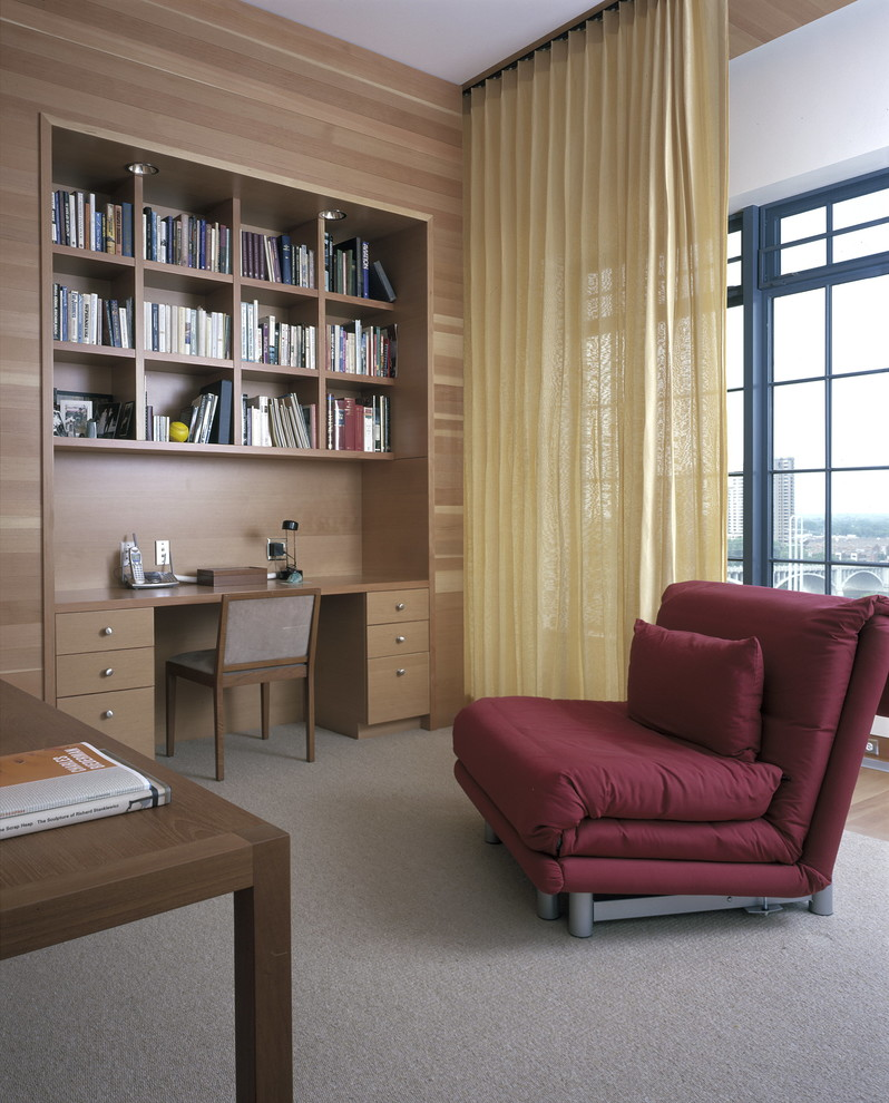 Sleeper Chair Home Office Contemporary with Bedroom Office Black Window Frame Built in Bookshelves Built in Desk Convertible Chair Dark