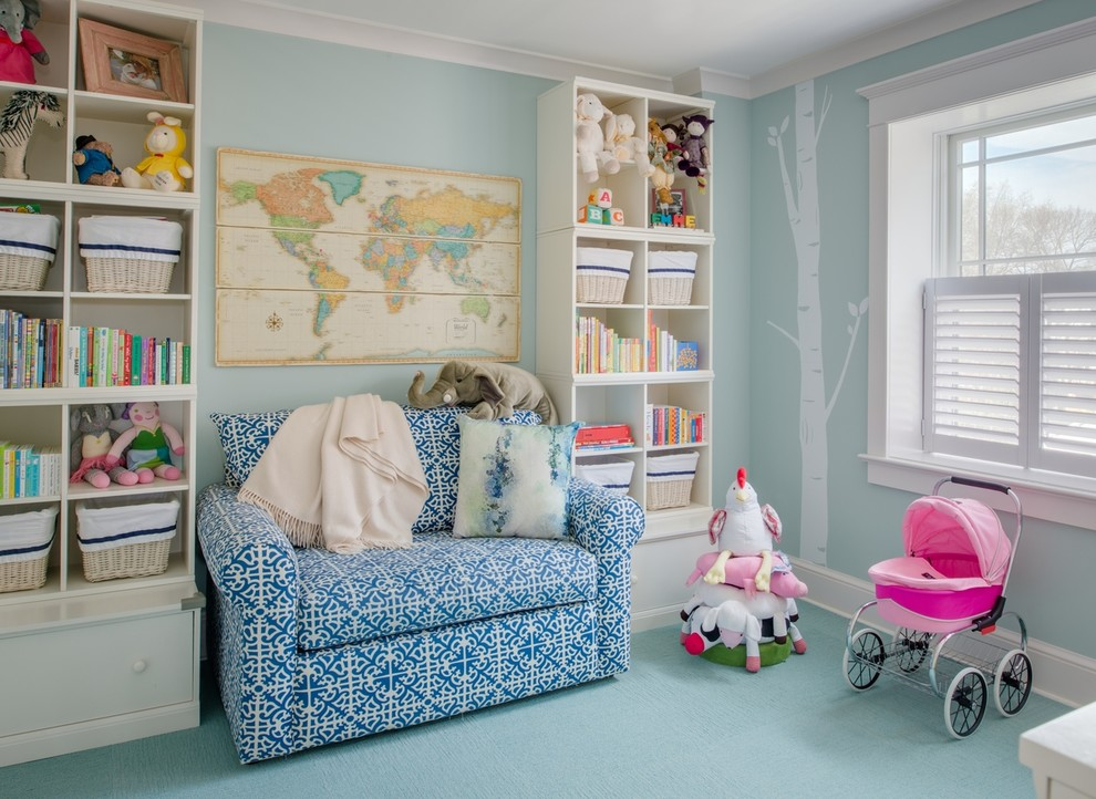 sleeper chair Kids Traditional with artwork baby toys bakets book storage bookcase bookshelves carpet tiles convertible bed