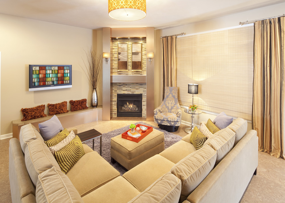 Sleeper Sectionals Living Room Contemporary with Accent Chair Built in Seating Corner Fireplace Corner Sofa Curtains Damask Decorative