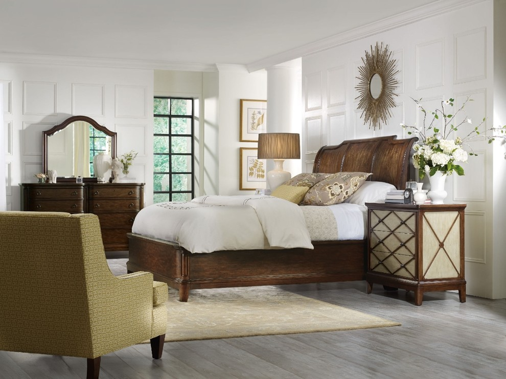 Sleigh Bed King Bedroom Traditional with Bachelors Chest Bed Bedroom Chest Dresser Mirror Night Stand Sleigh Beds Traditional