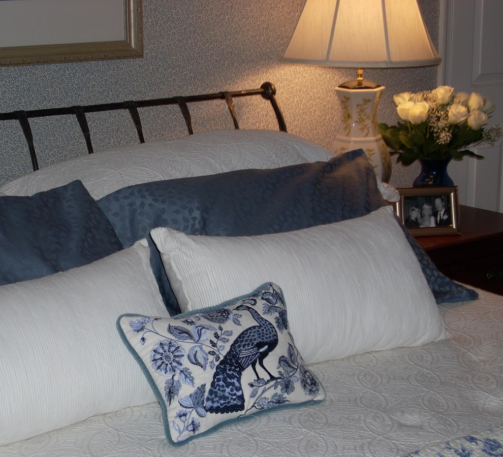 Sleigh Bed King Bedroom Traditional with Bedding Embroidered Peacock Pillow Master Bedroom Decorated in Blue and Wh Paris1