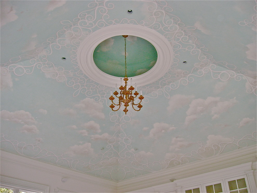 Sleigh Bed King Bedroom Traditional with Ceiling Mural Cloud Ceiing Intricate Pastel Colors Trellis Design