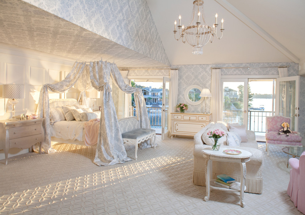 Sleigh Bed Queen Bedroom Shabby Chic with Armchair Bedroom Bench Canopy Chandelier Damask Drapery French French Doors Glass Doors