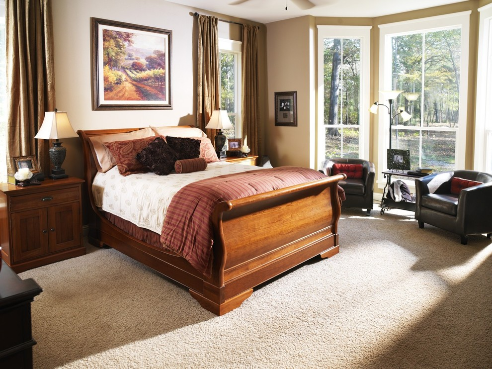 Sleigh Beds Bedroom Traditional with Bedside Table Beige Wall Curtains Drapes Floor Lamp Leather Chair Master Bedroom