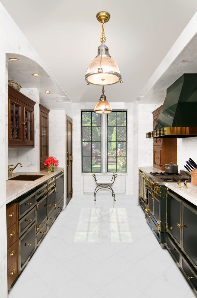 Sleigh Crib Kitchen Traditional with Arch Black and White Elegant Pendant Lighting Stove Vent Hood White Tile