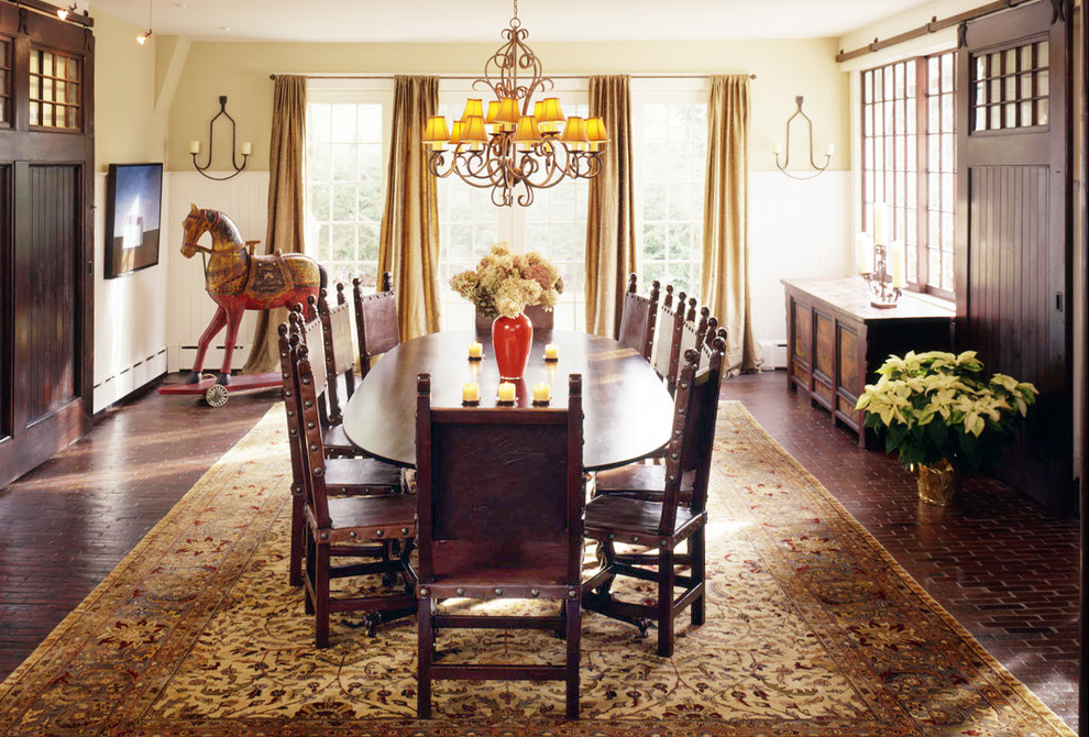 Sliding Door Curtains Dining Room Traditional With Antique Table Brick Floor Buffet Gold