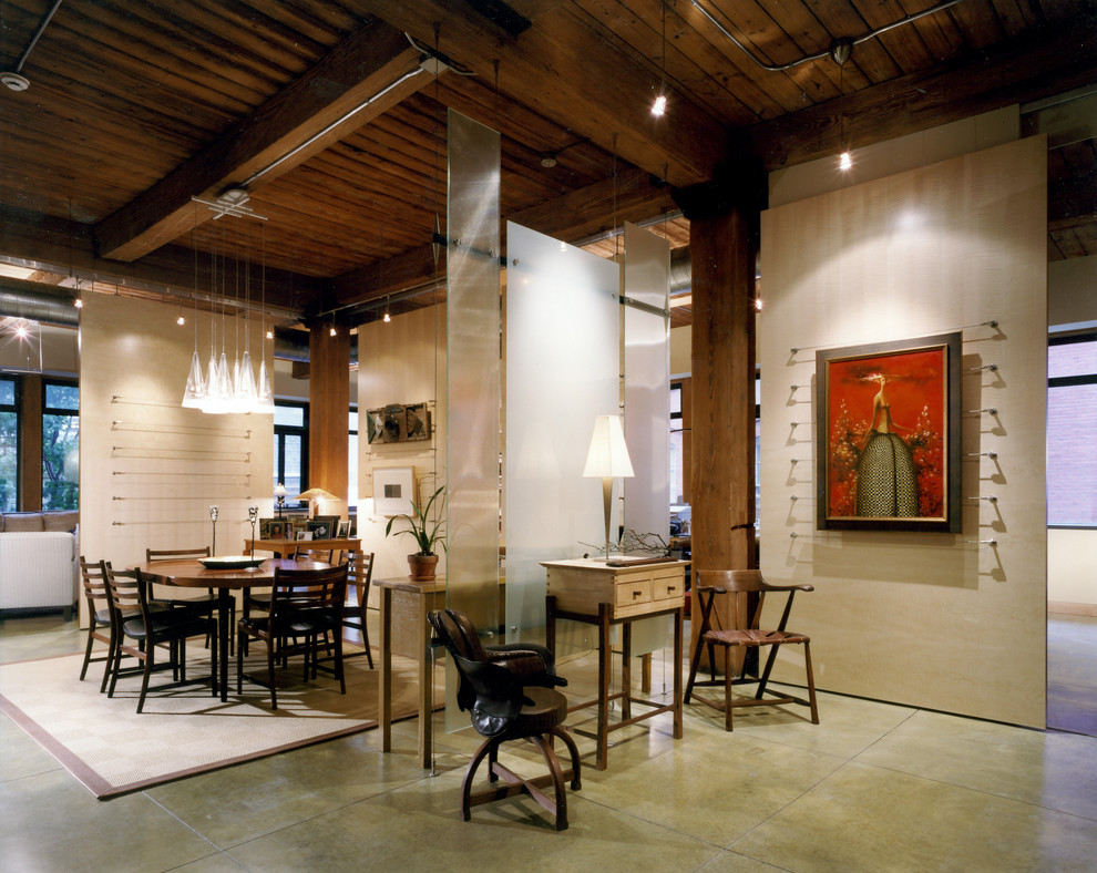 Sliding Panels Dining Room Contemporary with Artwork Beige Rug Beige Wall Clear Pendant Light Dark Wood Chair Dark