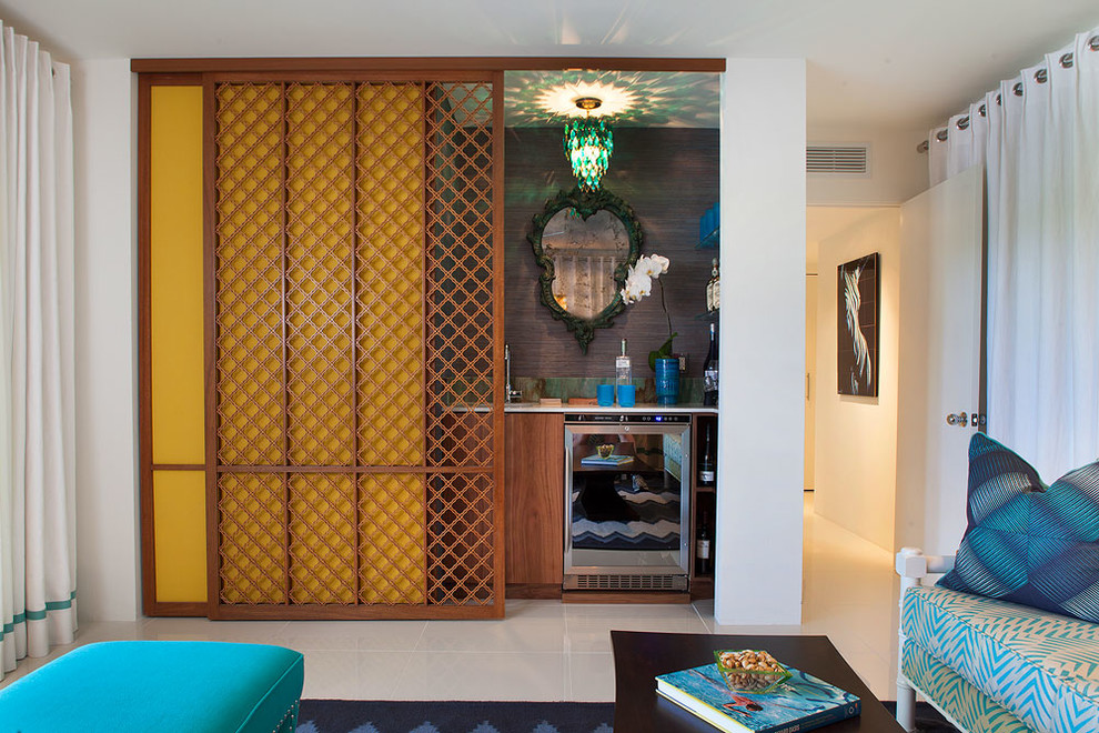 sliding room dividers Family Room Midcentury with bar blue blue ottoman blue throw pillow cabana Canyon canyons club colorful