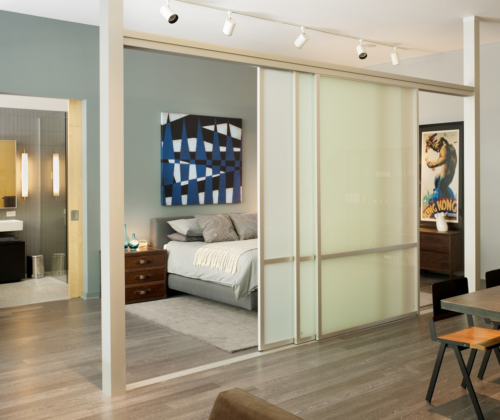 Sliding Room Dividers Hall Modern with Accent Wall Frosted Glass Doors Graphic Artwork Gray Bed Gray Wood Open