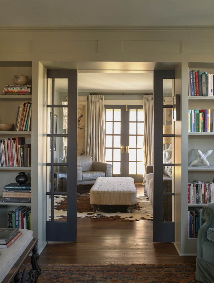 Sliding Room Dividers Living Room Farmhouse with Beige Rectangular Ottoman Built in Bookshelves Built in Cabinets Farrow and Ball
