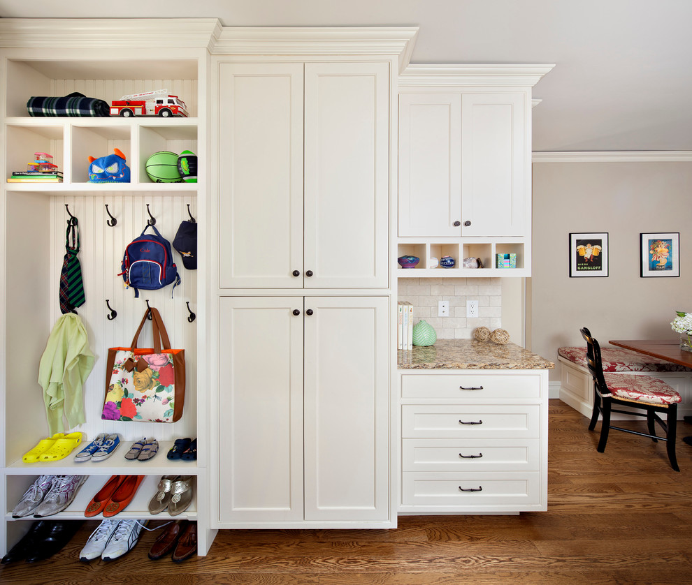 Sling Backpacks Entry Contemporary with Beadboard Built in Storage Closet Coat Hooks Crown Molding Gray Ceiling Mudroom Painted