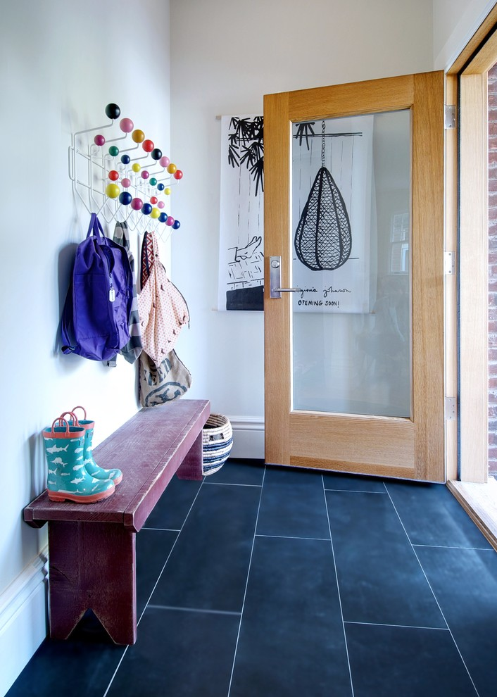 sling backpacks Entry Modern with basalt tile floor basket bench boots coathook Contrast Grout custom wood door