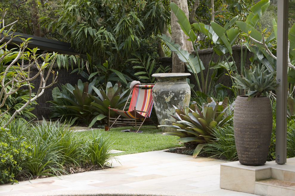 Sling Chairs Landscape Modern with Container Plants Garden Urn Grass Lawn Mass Plantings Patio Patio Furniture Planters
