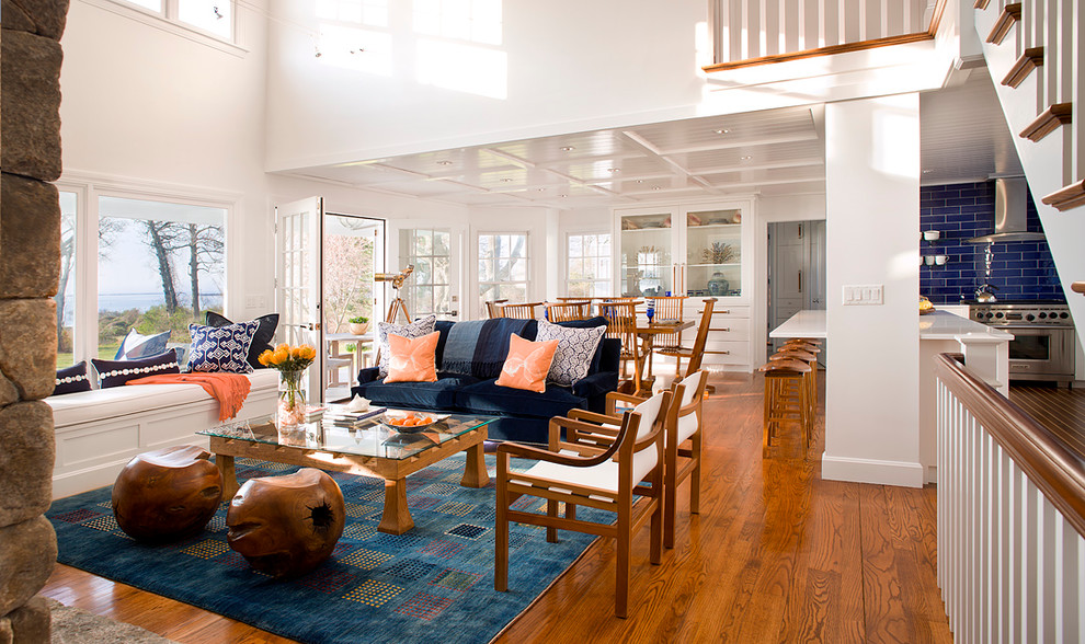 Sling Chairs Living Room Beach with Blue and White Blue Area Rug Blue Sofa Bright Clerestory Windows High