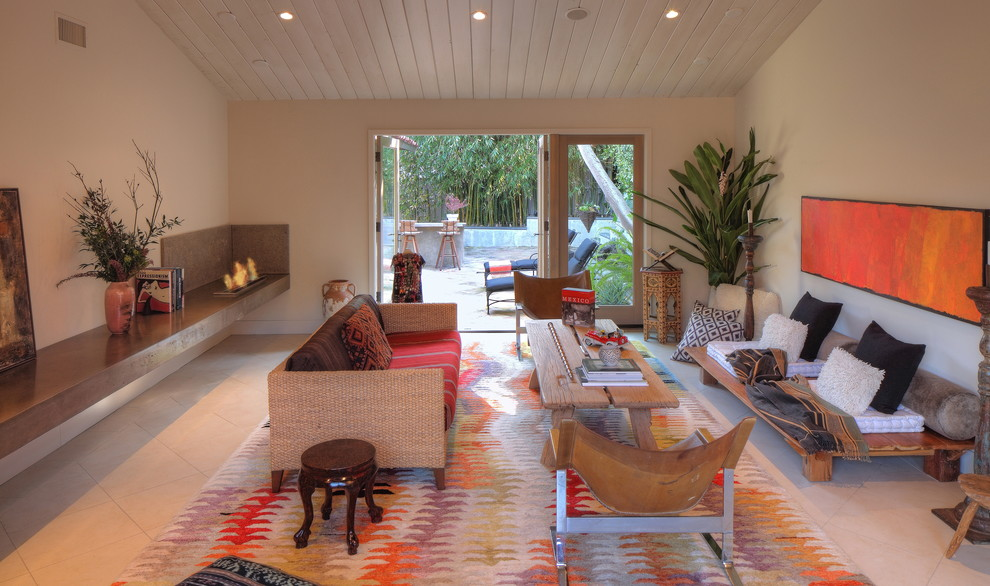 Sling Chairs Living Room Contemporary with Addition Alcohol Fireplace Beige Tile Floor Colorful Rug Earth Tones Painted Wood