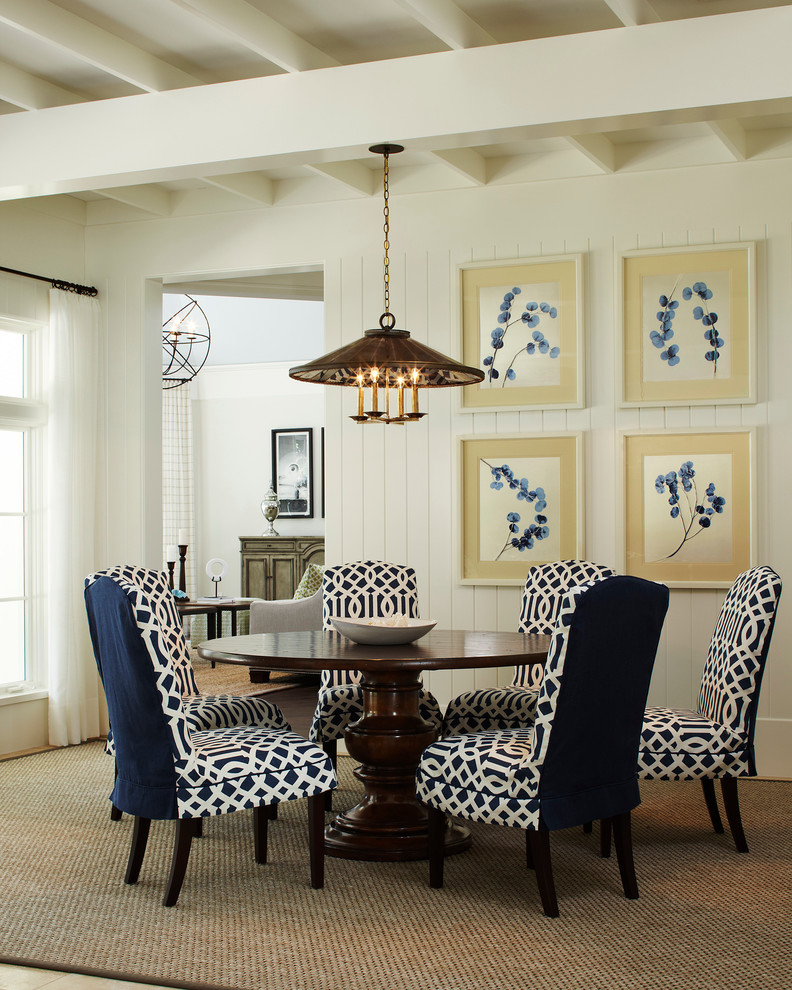 slipcover Dining Room Traditional with blue and white blue and white dining chairs exposed beams exposed joist