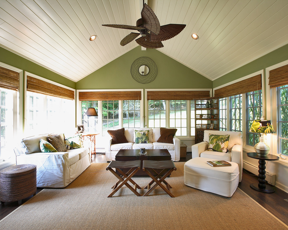 Slipcover Sunroom Traditional with Area Rug Bamboo Blinds Ceiling Fan Ceiling Lighting Decorative Pillows Floral Pillows