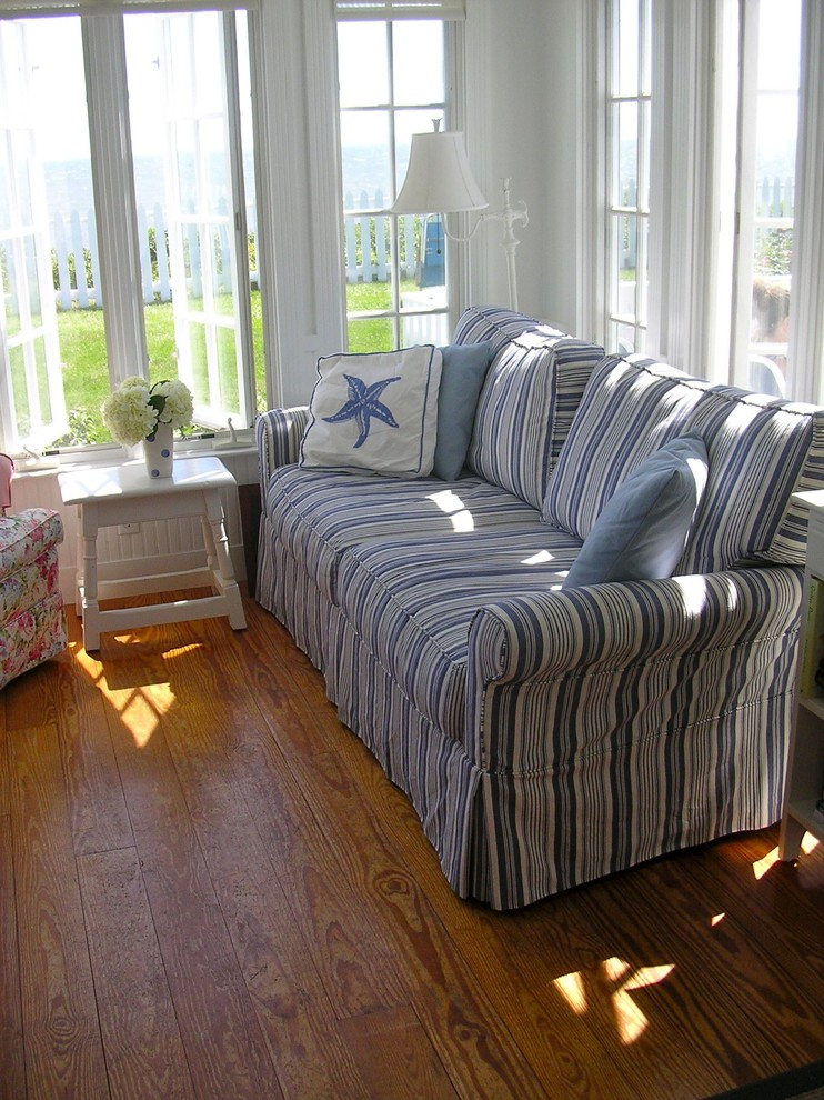 Slipcover Sofas Family Room Eclectic with Beach Nautical