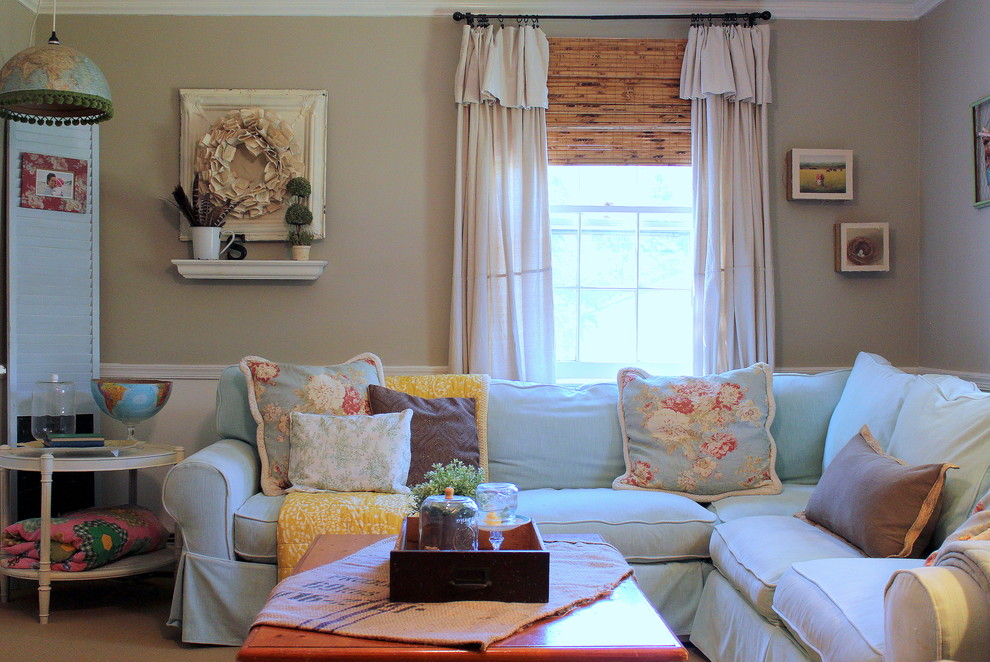 Slipcovered Sectional Living Room Shabby Chic with Beige Half Wall Chair Rail Corner Sofa Floral Pillows Light Blue Sofa