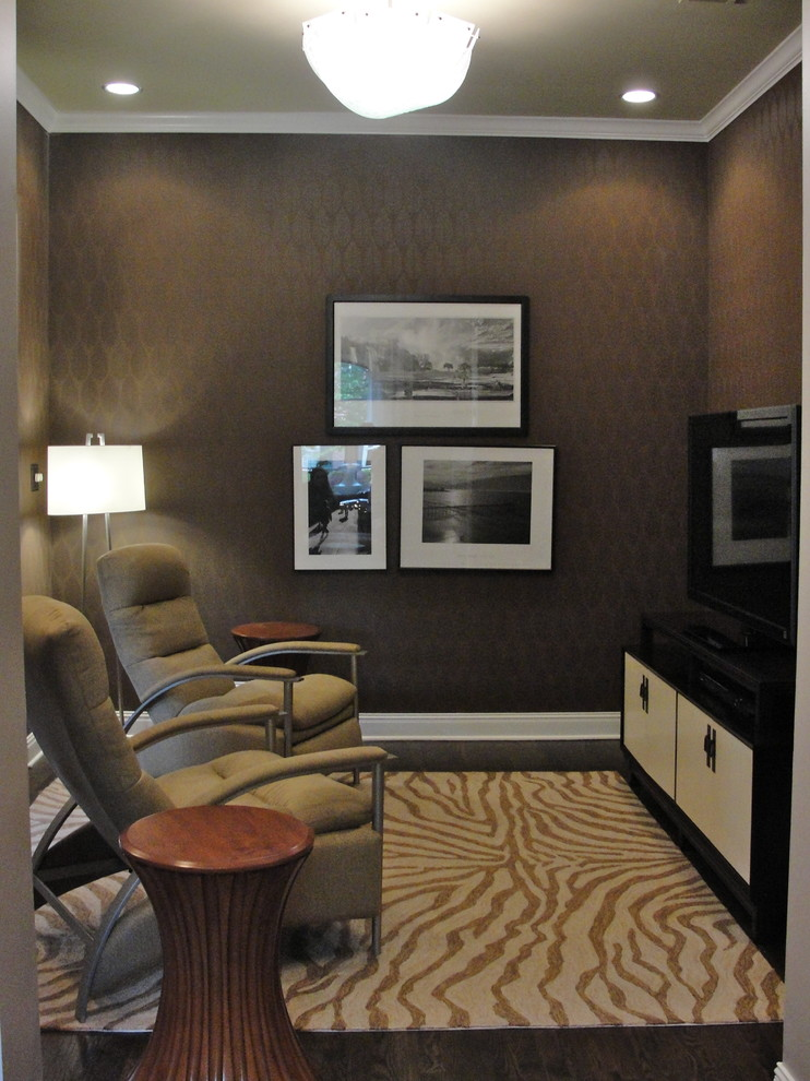 Slipcovers for Recliners Home Theater Contemporary with Area Rug Baseboards Crown Molding Dark Floor End Table Flush Mount Monochromatic