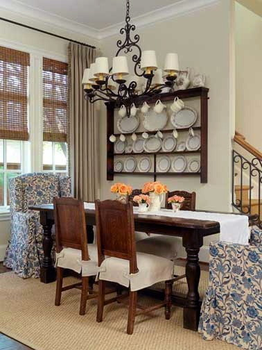 Slipcovers for Wingback Chairs Dining Room Traditional with Blue Floral Decorative Plates Dining Floral Grass Rug Mixed Seating Slipcovered Slipcovered