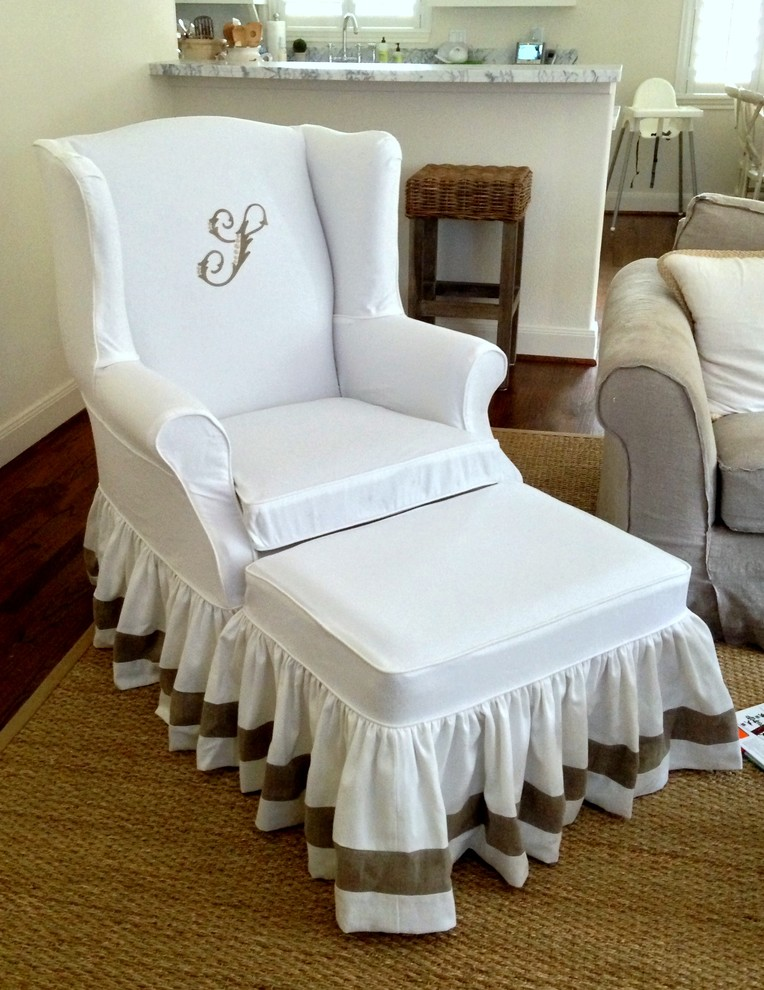 Slipcovers for Wingback Chairs Spaces Mediterranean with Banding Monogram Monogrammed Slipcover Ottoman Slipcover Ruffled Skirt Slipcover Slipcover with Banding