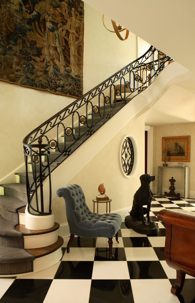 Slipper Chair Entry Traditional with Accent Chair Banister Black and White Black and White Marble Floors Carpet