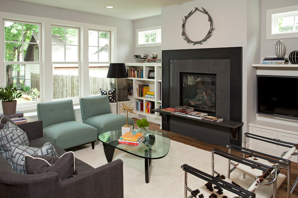 Slipper Chair Living Room Contemporary with Black Fireplace Surround Black Lampshade Blue Chairs Built in Bookcase Cowhide Chair Dark