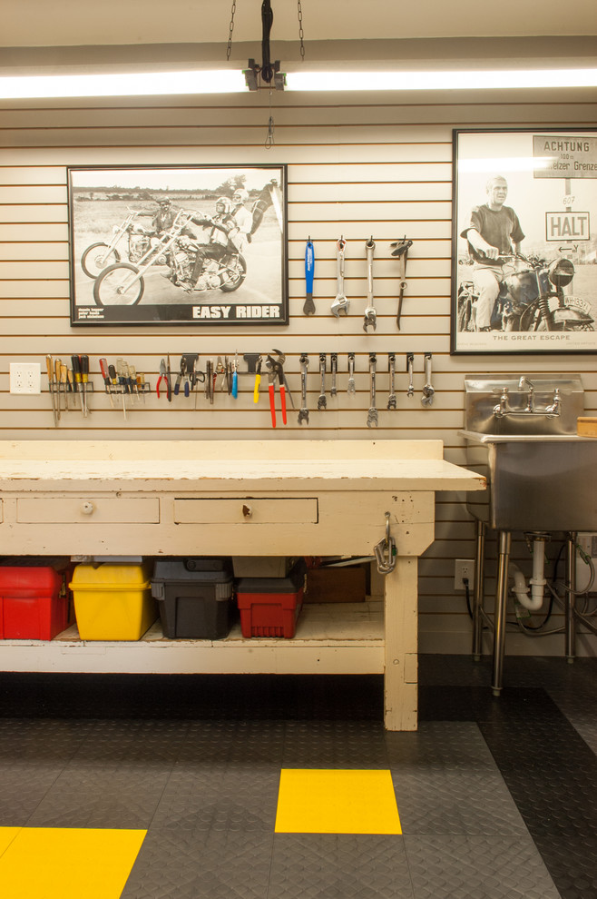 Slop Sink Garage and Shed Traditional with Black and White Photos Drawers Garage Floor Garage Sink Industrial Sink Mechanic