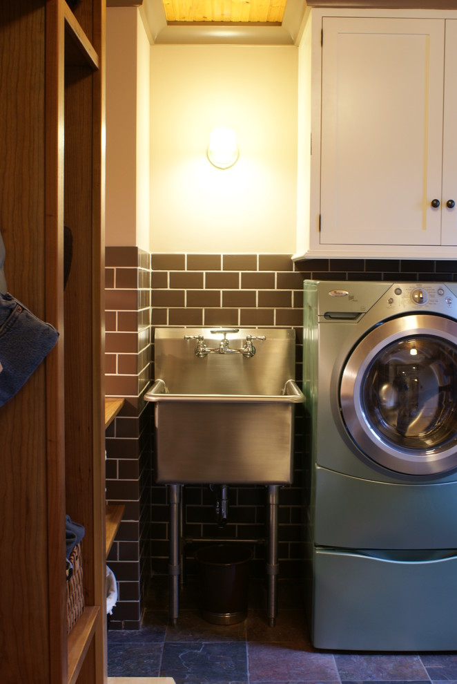 Slop Sink Laundry Room Eclectic with None