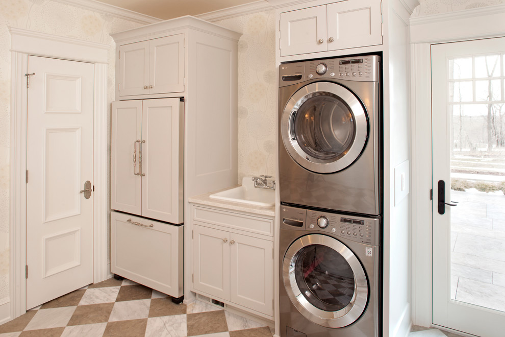Slop Sink Laundry Room Traditional with Brown Checkerboard Floor Cool Light Fixtures Farm Sink Frame and Panel Cabinets